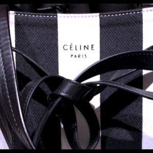 Celin'e Bucket brand  leather trim/canvas add pics